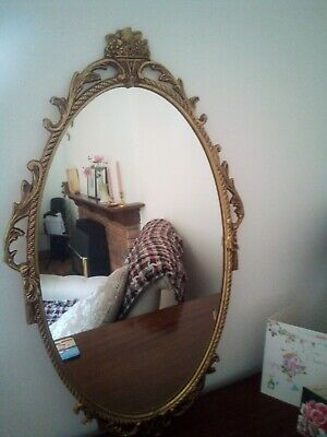 Vintage Solid Brass Oval Ornate Mirror