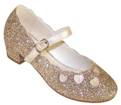 Girls Childrens Gold Glitter Sparkly Party Mary Jane Shoes Low Heeled Fashion