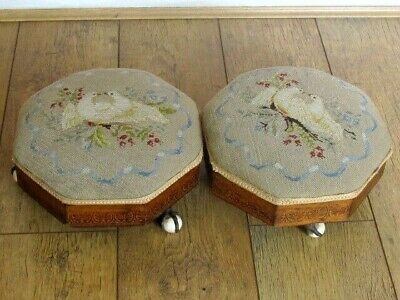Rare Antique Pair Needlepoint Dove Bird Footstools Metal Ball and Claw Castors