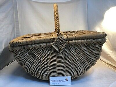 Vintage Large Wicker Picnic Basket VGC (WH_9026)