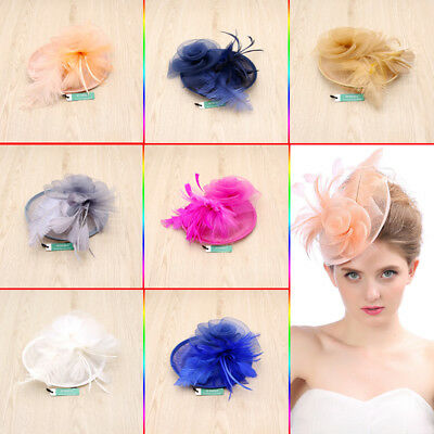 Party Wedding Fashion Wedding Women Fascinator Penny Hat Ribbons And Feathers UK
