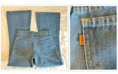 Vintage 1970's Levis 784 Bell Bottom Orange Tab Mens Jeans 28x30 Scovill Zipper