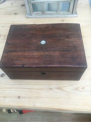 Antique Rosewood Desk Top Box Working Mother of Pearl Cartouche- For Restoration