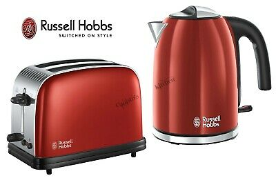 Russell Hobbs Colours Kettle and Toaster Set Red Kettle & 2 Slot Toaster - New