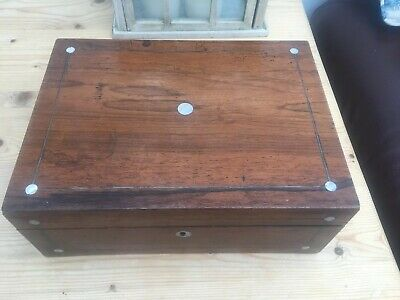 Antique Rosewood Desk Top Box Working Mother of Pearl Roundels - For Restoration