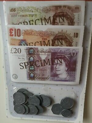 Childrens Set Play Money Kids Pretend Toy Fake Cash Notes Coins Role ED