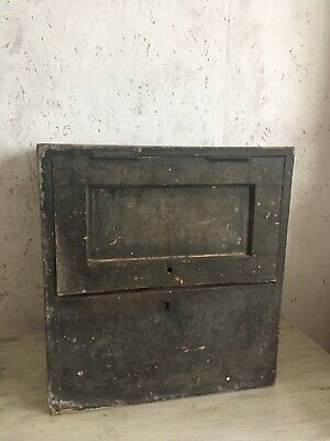 Antique Pine Post Box Painted 19th Century Primitive Rustic Country Mail Box