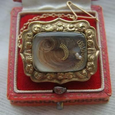 Stunning Victorian Gilt Metal Mourning Brooch with Prince of Wales Hair Curl