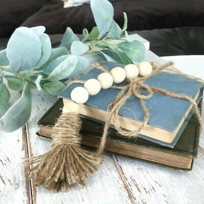 Ee_ Ln_ Nordic Style Wooden Beads Tassels Hanging Ornament Home Diy Wall Decor O