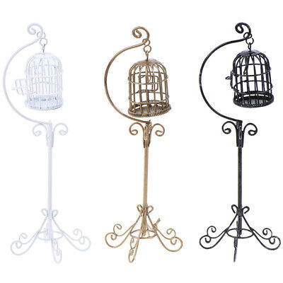 1:12 Dollhouse Mini Metal Bird Cage Model With Bracket Miniature Decorations LY