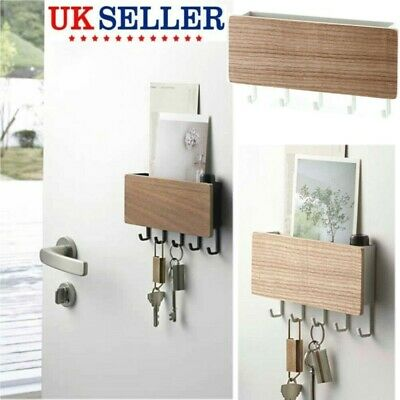 Wooden Wall Mounted Rack Home Hanging Hanger Hooks Clothes Key Holder Storage UK