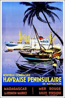 REPRODUCTION 50x75cm(*) d'1 AFFICHE ANCIENNE:COMPAGNIE HAVRAISE P'NINSULAIRE