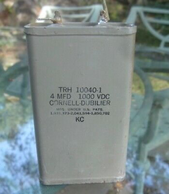 Vintage CORNELL DUBILIER Oil Filled Can Capacitor - 4uF @ 1000VDC