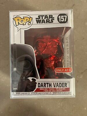 Funko Pop! Star Wars Darth Vader Red Chrome #157 Target Exclusive W/Protector