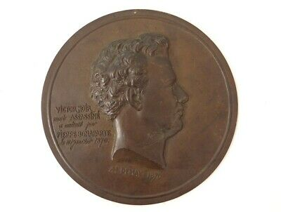Medal Plate Figural Bronze Portrait Victor Black Demay 1870 19th