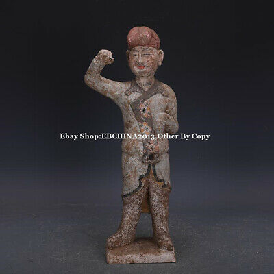 """16"""" Collect Old China Tang Three Colour Porcelain Pottery Man Statue Sculpture"""