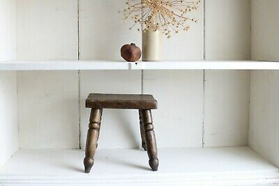 Antique Oak Stool Rustic Primitive Early Original Well Worn Period Cottage