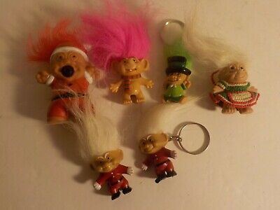 """Vintage 1990s Troll Doll Small figure lot Novelty Holiday Toys Christmas + 1"""" 2"""""""