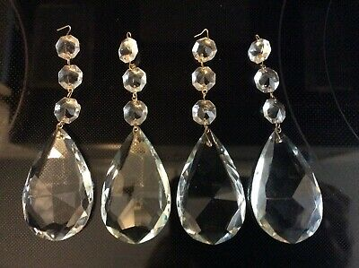 "4-Antique/Vintage Chandelier 3"" Tear Drop Clear Glass Crystal Prisms w/ 3 beads"