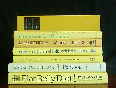 Decorative Book Stack Lot 7 YELLOW Spines Vtg Modern Farmhouse Staging Display
