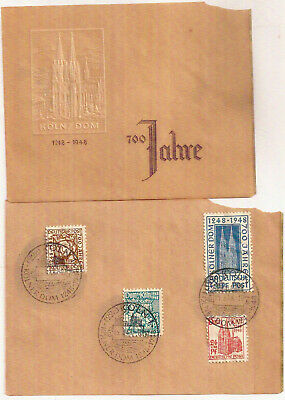 Germany 1948 Koln Dom Cologne Cathedral 700th anniv set+postmark on stamp card