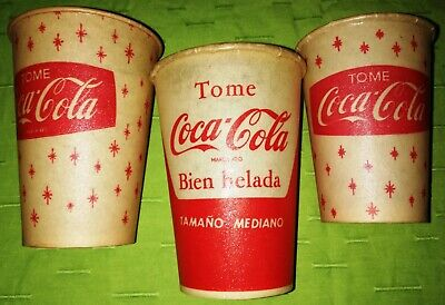 Antique Old Vintage Rare Coke Coca Cola Argentina Paraffin Cup Lot Of 3