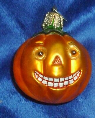 "OWC Old World Christmas 2.5"" GLASS HALLOWEEN JACK-O-LANTERN ORNAMENT VG/Exc Cond"