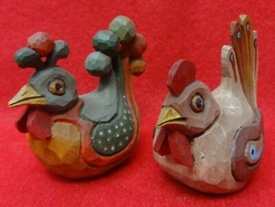 Vintage S. Arthur Shoemaker Folk Art Carved Wood Hen & Rooster Dated 1992