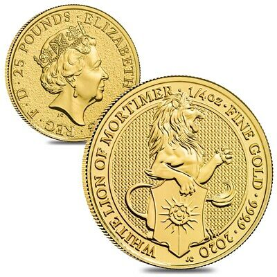 Lot of 2 - 2020 Great Britain 1/4 oz Gold Queen's Beasts White Lion of Mortimer
