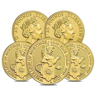 Lot of 5 - 2020 Great Britain 1/4 oz Gold Queen's Beasts White Lion of Mortimer