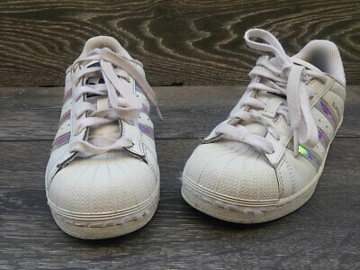 Adidas Originals Superstar Shoes Trainers White leather Shimmer Size 3 uk eu35.5