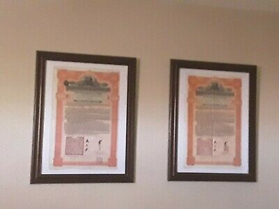 2 Framed Imperial Chinese Government £100 Hukuang Railways 1911 Issued Bonds (2)