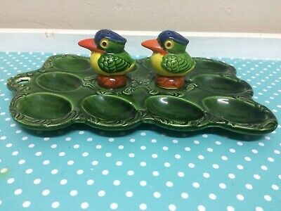 VINTAGE Deviled Egg Plate Dish & Bird Salt & Pepper Shakers ,Retro 60s 70s Japan