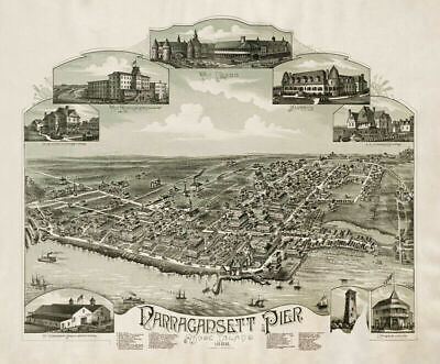 Map of Narragansett Pier Rhode Island c1888 24x20