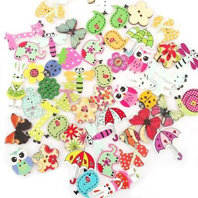 Lots 50Pc Mixed Bulk Animal Wooden Sewing Buttons Scrapbook Craft DIY Hole Y3B3