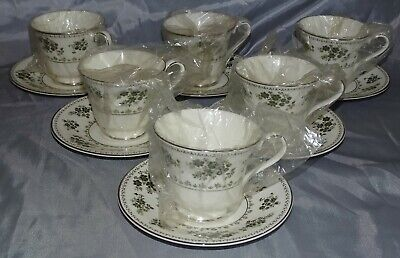 Royal Doulton England Valley Green 6 Cups & Saucers - Bone China