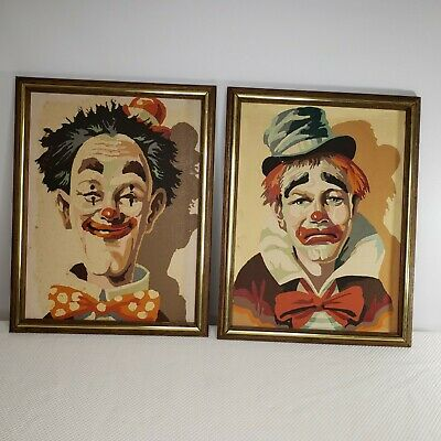 Vintage 60s PBN Paint By Number Clown Paintings Framed Set Kitsch Kitschy MCM