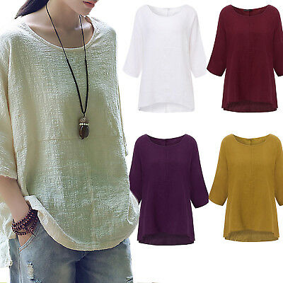 Plus Size Womens Long Sleeve Cotton Blend T Shirt Solid Tunic Tops Casual Blouse