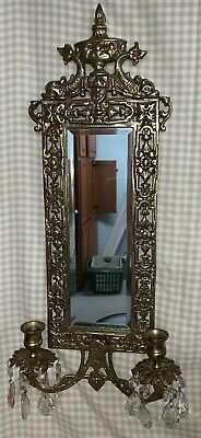 Vtg Asian Oriental Brass Victorian BAROQUE WALL MIRRORED Candle Sconce Dophins