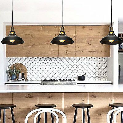 Black Metal Industrial Hanging Pendant Light Vintage Farmhouse Barn Kitchen Lamp
