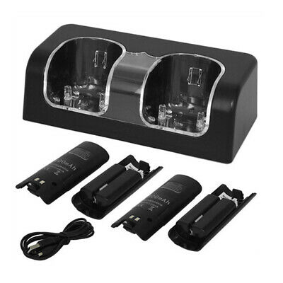 Charger Charging Dock Station + 2x Battery Pack For Nintendo Wii/Wii U H0D1Z