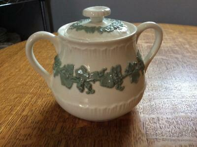 Wedgwood embossed Queensware celadon on cream shell edge sugar box and lid