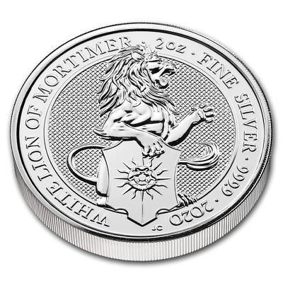 2020 Queen's Beast Collection White Lion Of Mortimer 2 oz Silver BU Bullion Coin