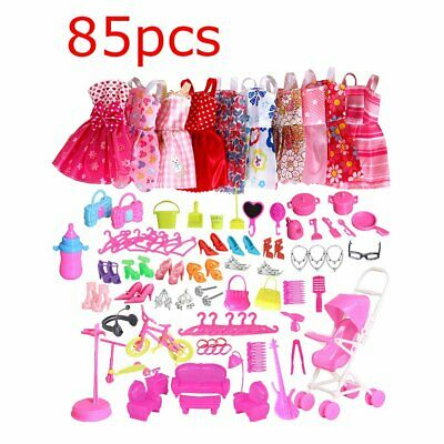 85Pcs For Barbie Dolls Dresses Shoes Clothes Set Accessories Girls VU
