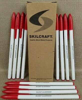 VINTAGE Skilcraft U.S. Government Ballpoint Pens Red Medium Point Box of 12 NEW