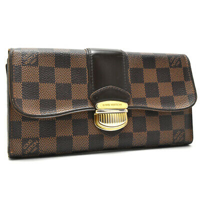 LOUIS VUITTON Damier Ebene Portefeiulle Sistina N61747 Wallet Brown Canvas