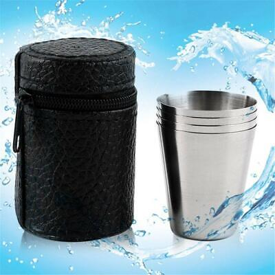 4x Travel Stainless Steel Shot Glass Cup Drinking Mug w/ PU Leather Cover Case &