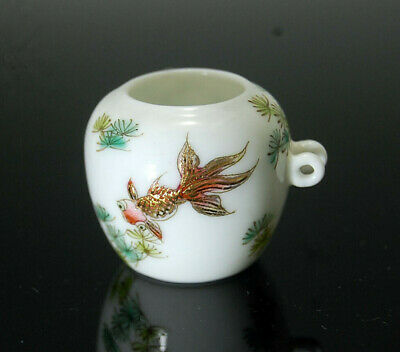 Collectable Hand Painted Porcelain Bird Feeder Bowl 4 Bird Cage Rose Medallion