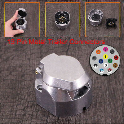 13 Pin Metal Trailer Socket Alloy Plug Light Connector Electrics Caravan Adapter