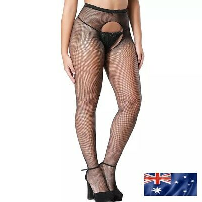Crotchless Fishnet Stockings Crutchless Black Oz Stock Fishnets